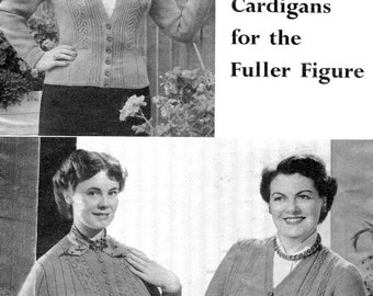 Fabulous Plus Size 1950s 1940s Cardigans 3 Designs 40 42 and 44 Bust Patons 752 Vintage Knitting Patterns Download