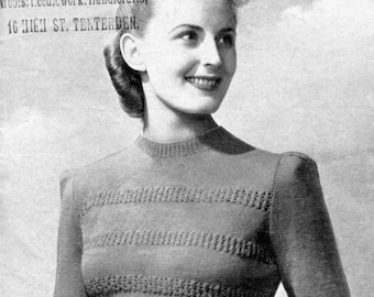 1940s Lace Stripe Puffed Sleeve Jumper with Long or Short Sleeves 36 Bust Weldons 332 Vintage Knitting Pattern