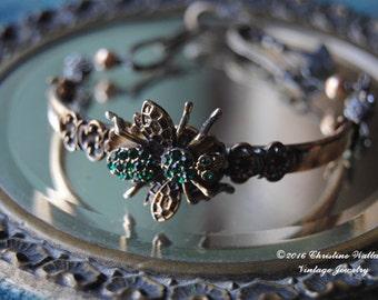 BEElieve Bangle--Vintage Rhinestone Bee Victorian Gold Filled Bangle Rhinestone Watch Hook BRACELET