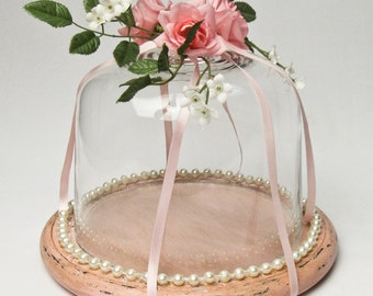 Display Cloche Shabby Cottage Chic Romantic Pink Roses Ribbons and Pearls Boudoir Decor Nursery Decor Handmade by OlliesFineThings