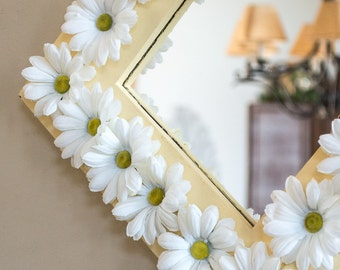 Square Wall Mirror Hand Painted Sunshine Yellow Framed in White Silk Daisies