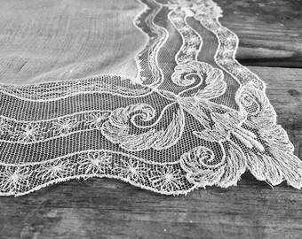 Delicate Vintage Wedding Hankie Handkerchief White Lace Hankie Brides Hankie Handkerchief Tambour Lace Bridal Hankies Something Old