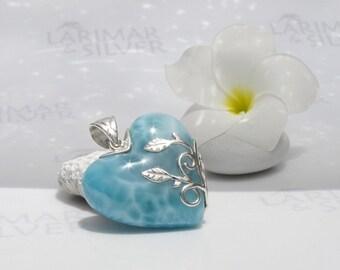 Larimarandsilver pendant, Source of Love - water blue Larimar heart, aqua, turtleback, aqua teal, fountain of love, handmade Larimar pendant