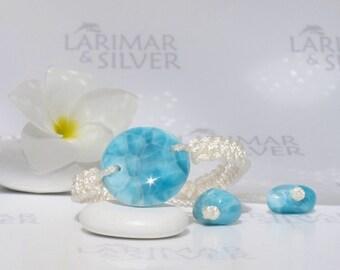 "Larimar bracelet by Larimarandsilver, Larimar Energy 7, navy blue Larimar round, turtleback, healing macrame bracelet adjustable 6.5 to 8.5"""