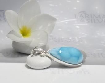 Larimarandsilver pendant, Summer Chill Out - azure Larimar pear, summer sky, turtleback, cobalt blue, Swiss blue, handmade Larimar pendant