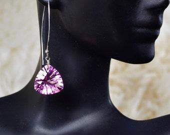 LP 1313 Dazzling Trillion Cut, Concave, Pink Quartz Earrings