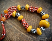 Vintage Nepalese massive Ethnic Necklace with Resin amber, yellow and red handmade beads
