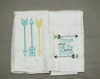 Baby boy burp cloth set personalized arrow burp cloth baby boy arrow burp cloth set boys will be boys burp cloths