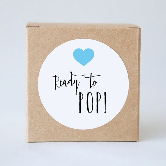 READY TO POP Baby Shower Stickers | Label Tags, Baby Girl, Baby Boy, Birthday Party, Bonbonerie, Thank You Adhesive, Minimalist, Love Heart