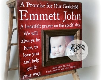 Baptism Gift for Godson, A Heartfelt Prayer on this Special Day, Christening Gift, Personalized Baptism Frame 16x16 The Sugared Plums Frames
