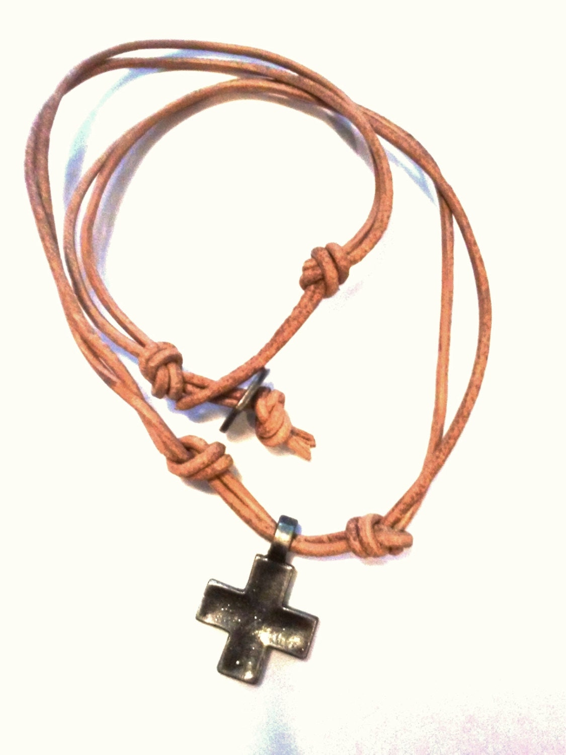 light brown leather cross necklace metal mens by necksnakes