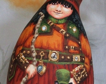 Esmerelda's Minions, steampunk witch, Halloween gourd, hand painted, 8 1/2 inches tall