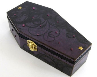 halloween coffin box purple and black halloween decor decoration goth gothic jewelry box decorated coffin trinket