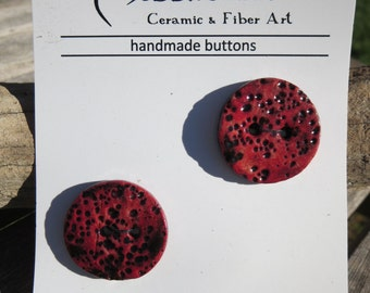 Two Handmade Red Ceramic Buttons