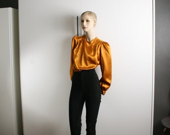gold blouse puff pleated sleeves satin button up back vintage 1980s
