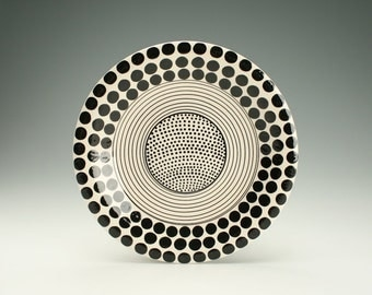 "Black and White Plate / Platter, Black Polka Dots, Stripes, and Dots, 10"" Plate Hand Painted Dinnerware"