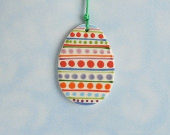 Easter Egg Ornament Hand Painted Beautiful Colors