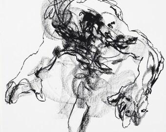 "Expressive Male Figurative Art  - 11 x 14"",  fine art - Drawing 441 - charcoal on paper - original drawing"