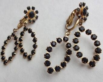 Dangly Black Glass Clip Earrings