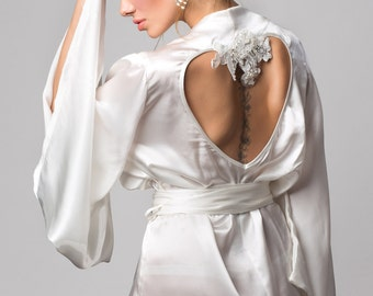Alexina wedding gown robe, Ivory silk satin kimono bridal robe - bespoke heart embroidery