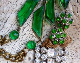The Gatsby -:- UpCycled Vintage Necklace - Antique paste Fur Clip - Vauxhall Glass - Green Rhinestones - Assemblage Jewelry