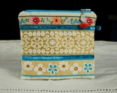 Handmade Pouch with Vintage Embroidered Trims, Vintage Hand Dyed Doily, Turquoise on Ivory, Beaded Zipper Pull, Lined
