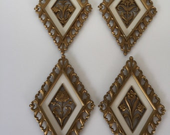Syroco Flower Plaques/ Mid Century Wall Hanging/ Hollywood Regency/ Gold Plaques/ Total of FOUR  c. 1970s By Gatormom13