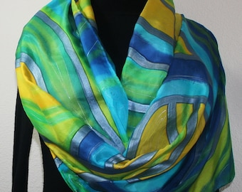 Blue Silk Scarf Handpainted. Yellow, Lime Hand Painted Shawl. Handmade Silk Scarf BLUE SUN, in Several SIZES. Anniversary Gift. Gift-Wrapped