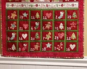 Christmas Advent Calendar Wallhanging , Gingerbread House Advent Calendar,  Children's Activity, Heirloom Quality, Quiltsy Handmade