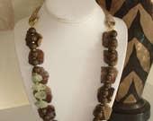 Ashira Rich Natural Petrified Wood Stone, Prehnite Statement Necklace