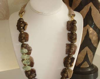 Ashira Rich Natural Petrified Wood Stone, Prehnite Statement Necklace