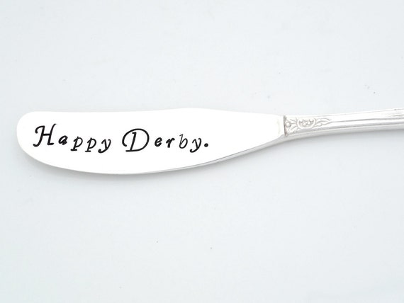 Happy Derby™  Spreader.  Hand Stamped Vintage Silverware by Sycamore Hill.  Original Design. Kentucky Derby Hostess Gift Idea. Horse Racing