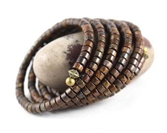 Gemstone Wrap Bracelet, Bronzite Bracelet, Memory Wire Bracelet, Wrap Bracelet, Yoga Jewelry, Cuff Bracelet, Gem Cuff, Bangle Bracelet, Yoga