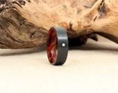 Diamond Inlay Black Zirconium Wooden Ring Lined with Arizona Desert Ironwood Burl