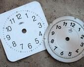 Vintage Alarm Clock Faces -- metal -- set of 2 -- D2