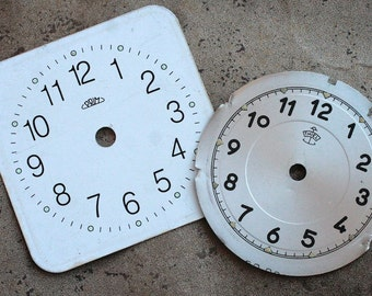 Vintage Alarm Clock Faces -- metal -- set of 2 -- D2