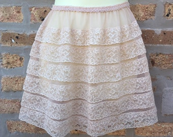 Schiaparelli signed short slip ruffled layers nude color, sheer and sexy 1960's mini skirt slip, lace layers, lingerie elastic waist size S