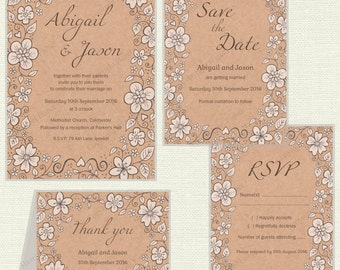 Floral Kraft printable Wedding stationery set - 'Abigail' digital customised invitation, save the date, rsvp and thank you cards