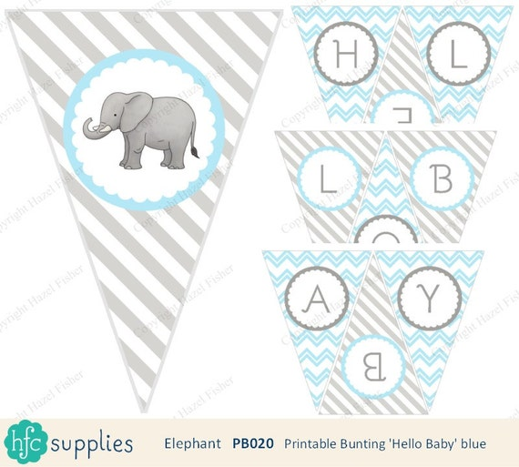 Elephant 'Hello Baby' Bunting - Blue and grey, printable baby ...