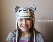 SALE - Camo Blue Bear Crochet Hat (4T - Preteen) Ready to Ship
