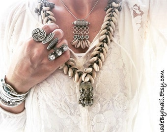 Antique silver Moroccan style element and cowrie shells necklace Bohemian Gypsy Beach style necklace by Inali