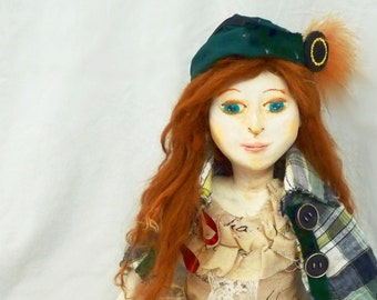 OOAK Art Doll, Sculpted Paperclay Doll, Valentina