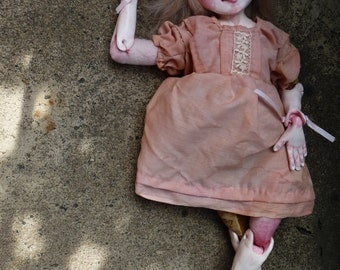 Jointed and Sculpted Art Doll, One of a Kind Art Doll, Rose