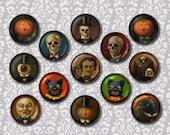 Gothic Brooch, Steampunk Pin, Victorian, Skull, Low Brow, Round Brooch, Button, Halloween, Pumpkin, Black Cat, Skull, Raven