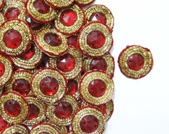 Indian Bridal Dress Material Small Round Shape Red Appliques Designer Beaded Golden Bullion Decor Crafting Patches By 12 Pcs/1 Dozen APS201