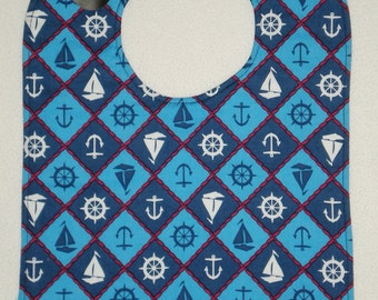 XL Toddler Bib Nautical Argyle Print