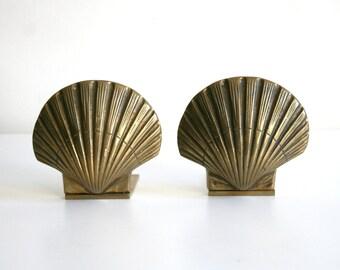 SALE Brass Hollywood Regency Seashell Bookends