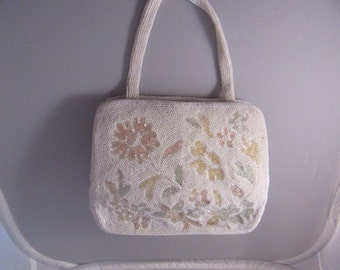 Beaded white Evening Bag with paste floral design