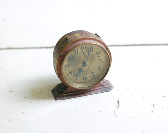 VINTAGE Baby Ben Alarm Clock - Rustic Red with Gold Face