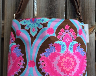 Diaper Bag, Cross Body Purse, Large, zipper closure, lots of pockets - Pink and Brown Amy Butler Fabric